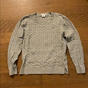 Lacoste Grey Crewneck Cable Knit Sweater
